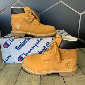 Youth Timberland x Champion Wheat Nubuck Boots